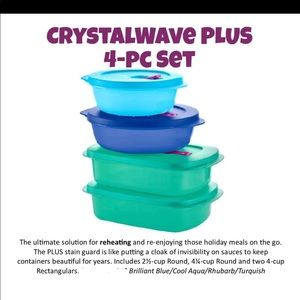 Brand new 4 piece Tupperware set crystalwave plus